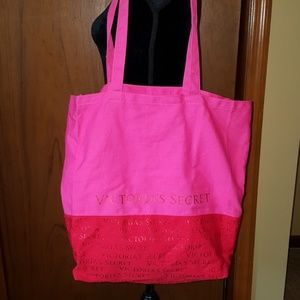 VICTORIA'S SECRET  pink and red canvas tote bag